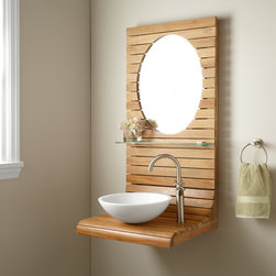"24"" Kyger Teak Wall-Mount Vanity - A tempered glass shelf decks the petite 24"" Kyger Teak Vanity. Designed to be mounted on a wall, this dynamic vanity adds another dimension to your bathroom."