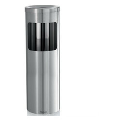 Blomus - Casa Ashtray Trashcan Duo - The Casa Ashtray Trashcan Duo keeps your environment waste-free with a modern, minimalist design by Blomus. It also doubles as an ashtray, with a convenient open top, and its smooth curves keeps things easy to clean. Sophisticated and practical, this duo is ideal for any home or office.