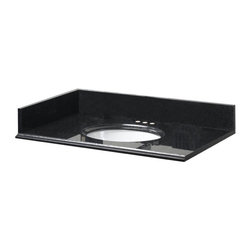 Pegasus - 31in. x 22in. Granite Vanity Top w/ Bowl & 4in. Faucets Spread, Midnight Black - 31 In. x 22 In. Granite Vanity Top with White Bowl and 4 In. Faucet Spread in Midnight Black