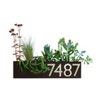 Urban Mettle - Wall Trough Planter with Address Numbers, Brown - Welcome Home. This modern address plaque and trough wall planter adds flair and style to the facade of your home with aluminum address numbers. Looks particularly great with colorful succulents!