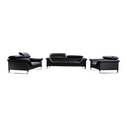 VIG Furniture - Elite Black Top Grain Italian Leather Sofa Set With Adjustable Headrests - The Elite sofa set will be a great addition for any modern themed living room decor. This sofa set comes upholstered in a beautiful black top grain Italian leather in the front where contact is minimal. Skillfully chosen match material is used on the back and sides where contact is minimal. High density foam is placed within the cushions for added comfort. Only solid wood products were used when crafting the frames making this sofa set very durable. Each piece features adjustable headrests for that extra touch of relaxation. The sofa set includes one sofa, loveseat, and chair only.
