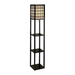 Adesso - Adesso Middleton Contemporary Floor Lamp X-10-2763 - The Middleton lamps have black painted frames and window panes. Each lamp has shade panels lined with PVC backed off-white fabric. The bottom of each shade is enclosed by a wood panel. The bottom and two additional shelves provide three storage/display spaces. Ball-accented on/off pull-chain switch. Takes 1 x 150 Watt incandescent or equivalent CFL bulb. The Middleton lamps have black painted frames and window panes. Each lamp has shade panels lined with PVC backed off-white fabric. The bottom of each shade is enclosed by a wood panel. The bottom and two additional shelves provide three storage/display spaces. Ball-accented on/off pull-chain switch. Takes 1 x 150 Watt incandescent or equivalent CFL bulb.