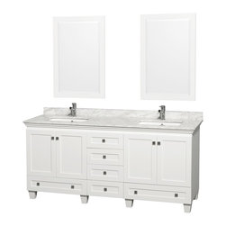 "Wyndham Collection - Wyndham Collection 72"" Acclaim White Double Vanity w/ White Porcelain Sink - Sublimely linking traditional and modern design aesthetics, and part of the exclusive Wyndham Collection Designer Series by Christopher Grubb, the Acclaim Vanity is at home in almost every bathroom decor. This solid oak vanity blends the simple lines of traditional design with modern elements like square undermount sinks and brushed chrome hardware, resulting in a timeless piece of bathroom furniture. The Acclaim comes with a White Carrera or Ivory marble counter, porcelain, marble or granite sinks, and matching mirrors. Featuring soft close door hinges and drawer glides, you'll never hear a noisy door again! Meticulously finished with brushed chrome hardware, the attention to detail on this beautiful vanity is second to none and is sure to be envy of your friends and neighbors!"