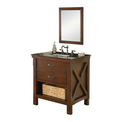 "J and J Vanities - 32"" Espresso Xtraordinary Spa Single Vanity Sink Cabinet - This is the pinnacle of furniture style bath vanity cabinet. It combines the casual feel of a cabin, to the functionality demanded in an urban environment. It has the most solid wood used in a furniture style vanity in its class, and completed with the highest end soft closing mechanisms. The handsome looking basket that tailored to this Xtraordinary vanity line is also included. Oh, have we mentioned the infinity sink insert is included as well? This special, patented water feature is included in the Xtraordinary vanity line. And it takes just seconds to convert normal undermount sinks to infinity sinks, something you can only imagine to be in a spa. The richness of the light espresso color cabinet, combined with complimenting black granite. Extra deep counter for the extra counter space. This single vanity includes the cabinet, the marble top, and undermount white porcelain sinks. Vanity mirror sold separately. Dimensions: 32 in. x 25 in. x 36 in."