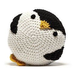 Peanut Butter Dynamite - Crochet Penguin Pillow - Ellie the Penguin is one of Peanut Butter Dynamite's hand crafted crochet pillows. Finding her way from the arctic into your home! Whether snuggled up on your favorite couch or curled up by your bedside, she warms up the room and your heart!