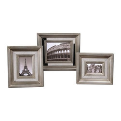 Uttermost - Uttermost Hasana Photo Frames (Set of 3) - Antiqued mirror center panels surrounded by antiqued silver frames. Holds photo sizes: 4x6, 5x7, 8x10. Frame sizes: Small - 13x15x2, Medium - 14x16x2, Large - 17x19x2.
