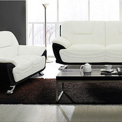 None - Alicia White/ Black Two-tone Modern Sofa and Loveseat Set - Update your home's look with this attractive furniture set. This sofa and loveseat set features faux leather upholstery in an attractive two-tone finish.