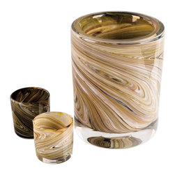 Esque - Simulated Ice Bucket And 2 Glasses - Like a trip to the deep woods (without the mosquitoes), this set features a 10-inch ice bucket and two 4-inch-tall glasses to hold your favorite libation. Colored glass pieces are twisted and spun to create a swirling woodgrain pattern, then dipped in a thick coating of clear glass for extra strength and shine.