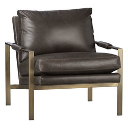 Milo Classic Leather Brass Lounge Chair - This is such a good looking chair. I would assume it is pretty darn comfortable without taking up a lot of visual space or floor space.