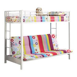 Walker Edison - Walker Edison Sunrise Metal Twin over Futon Bunk Bed Frame in White - Walker Edison - Bunk Beds - BTOFWH - Elegance and function combine to give this contemporary bunk bed a striking appearance. The design gives a stylish modern look crafted with durable steel framing. Designed with safety in mind the bed includes full length guardrails and a sturdy integrated ladder. Great for any space-saving design needs. Futon easily converts into a full size sleeper to accommodate an overnight guest or a growing family.