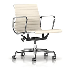 Herman Miller - Eames Aluminum Management Chair - The Herman Miller Eames Aluminum Management Chair is one of the most important contributions Charles and Ray Eames made to modern design. The Eames Aluminum Management Chair has a sleek look that utilizes a minimalist design and classic lines that combine to create this iconic piece. This Eames Aluminum Management Chair is surely among the most renowned of the mid-century design pieces. More than just a chair the Eames Aluminum Management Chair from Herman Miller is a beautiful piece of modern art. The chair is also adjustable and suited to working long hours at a desk.