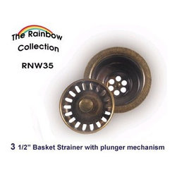 Whitehaus Collection - Antique Copper Whitehaus RNW35 3 1/2'' Kitchen Fireclay Sink Brass Basket Strain - Purchase a Whitehaus Collection basket strainer for your new sink and enjoy both quality and convenience with this ergonomically designed kitchen sink strainer.