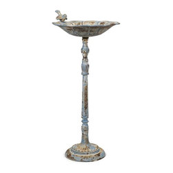 Santon Blue Birdbath - Large - This large bird feeder features a rustic, aged finish in pale blue. Place in the garden with some bird food to provide a delightful treat!