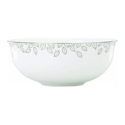 Lenox Platinum Leaf Serving Bowl - Dress up your dinner table with the Lenox Platinum Leaf Serving Bowl. With its generous 19-ounce capacity, this deep, round serving bowl makes a beautiful presentation of side dishes, soups, pasta salads, and more. Perfect for everyday dining or formal occasions, it's crafted of fine bone china with platinum accents and a leaf design. Featuring a warm, contemporary style, this serving bowl cleans up easily in the dishwasher.About LenoxThe Lenox Corporation is an industry leader in premium tabletops, giftware, and collectibles. The company markets its products under the Lenox, Dansk, and Gorham brands, propelled by a shared commitment to quality and design that makes the brands among the best known and respected in the industry. Collectively, the three brands share 340 years of tabletop and giftware expertise.