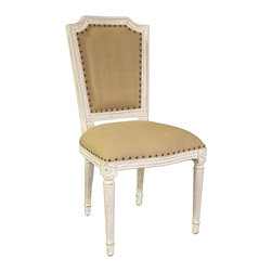 Noir - Noir - Anton Side Chair, White Weathered - White Weathered Mahogany Wood, Olive Cotton