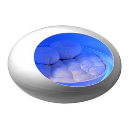 EcoFirstArt - Transport Bed - Next stop, dreamland! This space-age sleep pod transforms your modern bedroom into a cool, conceptual environment of soothing light and complete comfort.