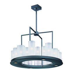 Maxim Lighting - Urban Nights Circular Chandelier - The Urban Nights Circular Chandelier fuses modern geometric form with frosted glass cylinders that contain Xenon bulbs. Under the frame, LED downlights provide a second source of light. Available in a Black finish with Frosted glass. Twenty-four 25 watt 120 volt JCD type G9 base bulbs are included. Four 2.5 watt 120 volt 3000K LEDs are included. 28.25 inch width x 21.25 inch height x 65.50 inch maximum length. UL listed.