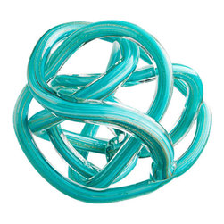 Cyan Design - Tangle Teal Glass Knot Sculpture, Large - The Tangle Teal Glass Knot Sculpture is simple and sleek with fluid lines. Each knot is finely crafted of smooth, heavy translucent glass with a shimmering teal core. These artisan sculptures are an excellent choice for adding texture and movement to a tablescape or bookshelf, or for a modern paperweight in the office or study. Choose from a large or small knot, or select both sizes for a distinct collection. The Tangle Teal Glass Knot Sculpture set is an excellent gift for the sophisticated hostess, or for your own elegant table decor.