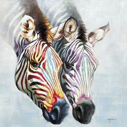 None - Yosemite Home Decor 'Zebras in Color' Cotton Canvas - Title: Zebras in ColorProduct type: Wooden frame wrapped with canvasFormat: Square