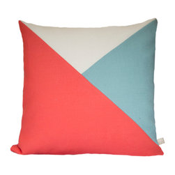 Geometric Color Block Pillow Cover | Coral + Ecru + Pale Teal Linen | The Artful - Geometric Color Block | Coral + Ecru + Pale Teal Linen Pillow Cover
