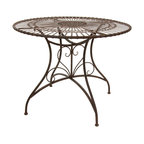 Oriental Furniture - Rustic Circular Garden Table - Rust Patina - Suitable for entertaining guests, playing cards, and serving tea, this classic wrought iron table has a stylish design and a timeless charm. Finished with a rich faux-rust patina, this table looks and feels like an antique while remaining sturdy and durable like it were brand new. With its weathered, wrought iron charm and rose medallion sunburst design, this table is sure to add a sophisticated, old-fashioned accent to your home, patio, or lawn.