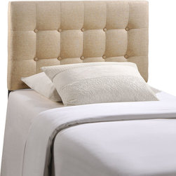 Emily Twin Fabric Headboard - Add elegance to your bedroom with the Emily tufted button headboard. Designed with just the right amount of grace, Emily is made from fiberboard, plywood, and fine polyester upholstering for a construction that is both lightweight and long-lasting. Perfect for contemporary and modern bedrooms, sleep soundly with a piece that imparts a sense of tranquility amidst an impressive backdrop of style. Fits twin size beds.