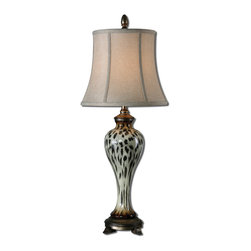 Uttermost - Malawi Cheetah Print Buffet Lamp - This elegant lamp celebrates the signature print of the fastest animal on land. Thankfully, the lamp remains at rest on your table, allowing you to get up close to appreciate its intricate flecks and warm hues.