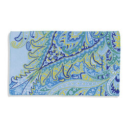 "Frontgate - Turquoise Multicolored Beach Towel - Printed with fiber-reactive dyes that resist fading and the effects of chlorine and sun exposure. Triple Sheared for luxurious, clean look and feel. Velour face reverses to a solid-color, terry back. Large, 40"" x 70"" sizing. Preshrunk cotton ensures towels retain their full size. Beautiful paisley with enhanced detail seems to burst like a droplet of water right off this luxurious, terry velour towel. Woven of 100% ring-spun cotton to 445 gsm, the towel is super soft, absorbent, and quick to dry.  .  .  .  .  . Double-stitched edges along all sides for hotel laundry durability . Machine wash and dry . Wash with like colors in cold water. Do not bleach. Tumble-dry low. . Imported."