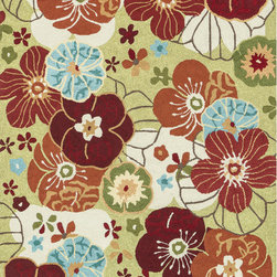 Alexander Home - Hand-hooked Peony Apple Green Floral Rug (7'6 x 9'6) - Add a dash of whimsy and country-cottage charm to any room in your home with one of these green floral rugs. This durable polyester rug features vibrant peonies done in shades of red,blue,orange,and white that lend a Hawaiian appeal to any space.