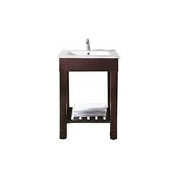 Avanity Loft 24 In. Vanity - The Loft Collection is a sleek clean design that offers extra counter space in a dark walnut finish over birch solid wood and veneers.