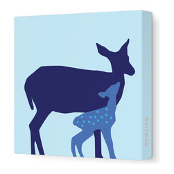 """Avalisa - Animal - Doe Stretched Wall Art, 12"""" x 12"""", Blue - Here's a sweet print for your little deer — or for yourself. It comes in your choice of color combinations and sizes. With this kind of color and fun on your walls, your friends are sure to fawn."""