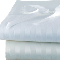 Luxor Linens - Via Frattina Italian Stripe Sheet Set, Queen, White - Crisp, clean and subtlety striped, these linens are an elegant way to outfit your bed. Made in Italy from the finest Egyptian cotton sateen, the set includes one flat sheet, one fitted sheet, two pillowcases and infinite sweet dreams.