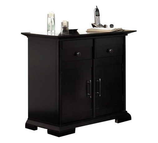Broyhill - Broyhill Perspectives 1 Drawer 2 Door Night Stand in Graphite Finish - Broyhill - Nightstands - 4444292