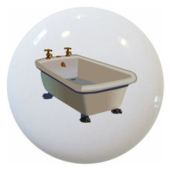 Carolina Hardware and Decor, LLC - Bathtub Ceramic Cabinet Drawer Knob - 1 1/2 inch white ceramic knob with one inch mounting hardware.  Great as a cabinet, drawer, or furniture knob.  Adds a nice finishing touch to any room!