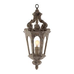 Kathy Kuo Home - Edna French Country Antique Silver Pendant Lamp - An open pendant surrounding a singular light with a Cathedral Chipped White finish accented with distressed silver on the inside.
