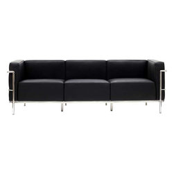 Modway - LC3 Sofa in Black - Urban life has always a quandary for designers. While the torrent of external stimuli surrounds, the designer is vested with the task of introducing calm to the scene. From out of the surging wave of progress, the most talented can fashion a forcefield of tranquility. Perhaps the most telling aspect of the Charles series is how it painted the future world of progress. The coming technological era, like the externalized tubular steel frame, was intended to support and assist human endeavor. While the aesthetic rationalism of the padded leather seats foretold a period that would try to make sense of this growth. The result is an iconic sofa series that became the first to develop a new plan for modern living. If previous generations were interested in leaving the countryside for the cities, today it is very much the opposite. If given the choice, the younger generations would rather live freely while firmly seated in the clamorous heart of urbanism. The Charles series is the preferred choice for reception areas, living rooms, hotels, resorts, restaurants and other lounge spaces.