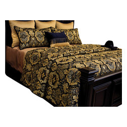 Jerry Coverlet Set, King - Cole Black Chenille print blended with various shades of Gold, highlighted with light Brown and Cream.