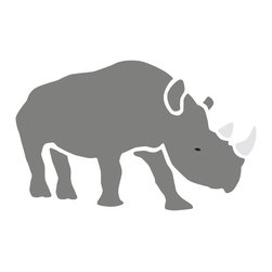 My Wonderful Walls - Rhinoceros Stencil for Painting - - Rhinoceros wall stencil for jungle theme wall mural