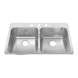 American Standard - Four Hole Stainless Steel Topmount 33.38 inch x 22 inch Double Bowl Kitchen Sink - American Standard 15DB.332284.073 Four Hole Stainless Steel Topmount 33.38 inch x 22 inch Double Bowl Kitchen Sink in Brushed Stainless Steel.