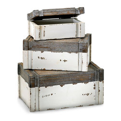 Alder Boxes - Set of 3 - Place within them delicate paper ephemera for safekeeping, a collection of photographs from sojourns on the sea, a hand-knit throw at the ready for when the chill of evening calls. The Alder Boxes - Set of 3 boast a gently distressed White and Gray finish like that of treasured articles found in antique shoppes.