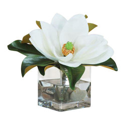 Winward - Magnolia Cube Flower Arrangement - Save yourself a trip to the florist with a permanent display of a stunning magnolia blossom resting in a pool of river rocks. The sophisticated look is perfect for a bathroom vanity or a guest room nightstand. You'll enjoy that freshly cut look for years to come.