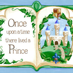 Once Upon a Time Prince Storybook Nursery Wall Art by Sherri Blum - Once Upon a Time Storybook Prince nursery wall art for baby or canvas wall art for kids by Sherri Blum for Oopsy Daisy Art. Beautiful sentiment on kids canvas art that makes a perfect nursery wall art for your baby's nursery.   Any fairytale theme nursery for a royal baby's room would be complete with our prince nursery art. By Sherri Blum, celebrity nursery designer and owner of Jack and Jill Boutique. Variety of sizes.