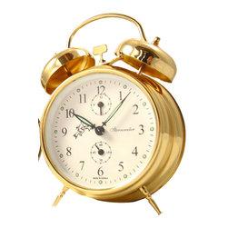 STERNREITER - Sternreiter Double Bell Alarm Clock, Gold - This alarm clock features: