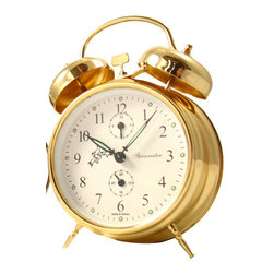 STERNREITER - Sternreiter Double Bell Alarm Clock, Gold - This alarm clock features:
