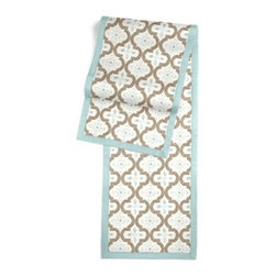 Tan & Aqua Quatrefoil Trellis Custom Table Runner - Set a table for a king! or just your family and friends!! with our gorgeous Tailored Table Runner. Solid edging adds a touch of refinement, perfectly setting off the center fabric. We love it in this seafoam and taupe quatrefoil pattern on a soft sateen reflects the essence of classic Moroccan tilework.