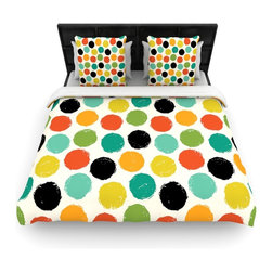 """Kess InHouse - Daisy Beatrice """"Retro Dots Repeat"""" Multicolor Cotton Duvet Cover (Queen, 88"""" x 8 - Rest in comfort among this artistically inclined cotton blend duvet cover. This duvet cover is as light as a feather! You will be sure to be the envy of all of your guests with this aesthetically pleasing duvet. We highly recommend washing this as many times as you like as this material will not fade or lose comfort. Cotton blended, this duvet cover is not only beautiful and artistic but can be used year round with a duvet insert! Add our cotton shams to make your bed complete and looking stylish and artistic!"""