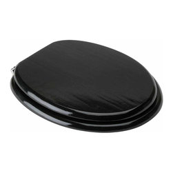 Renovators Supply - Toilet Seats Black Hardwood Toilet Seat Elongated Chrome Hinge | 14335 - Hardwood toilet seat, black toilet seat: Made of solid hardwood this seat is designed for maximum strength and durability and easily outlasts all other wooden seats. Fits over standard size toilet bowls and comes in a variety of finishes. Cross-frame design prevents splitting at stress points unlike most ordinary toilet seats. Made of sturdy polymer, the bumpers prevent rocking and keep the seat safely in place. Solid brass swivel hinges are easily adjustable 3 5/8 inch to 7 1/2 inch and easier to clean. Chrome-plating protects brass from tarnishing for years to come. Seat measures: 17 5/8 inch x 14 1/2 inch Lid measures: 16 3/4 inch x 13 1/8 inch Elongated shape toilet seat black.