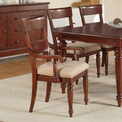 Olmsted Upholstered Dining Arm Chairs - Set of 2 - Classic Louis Philippe design is infused with a casual appeal in the Olmsted Upholstered Dining Arm Chairs - Set of 2, making it a great choice for any upscale dining space. Combining a relaxed feel and quiet sophistication, these chairs are generously proportioned, with comfortable, upholstered seat and supportive back. As stylish as they are comfy, these chairs will envelop you and your guests such luxurious comfort that you will find yourself lingering over your plate longer than usual! Sturdily constructed of select hardwoods with cherry and primavera veneers, this set of arm chairs sports a nutmeg finish that will add warmth to your dining area.About Wynwood FurnitureAt Wynwood, designing unique and useful furniture is the goal. The company's own fashion consultants scour the globe for distinctive woods and eye-catching designs before bringing their findings back home to talented designers who set about creating beautiful pieces. The designs are then moved into production, where Wynwood specializes in ensuring all collections are both stunning and useful, giving every piece a thorough going-over that results in inimitable style, impeccable construction, and unequaled functionality.