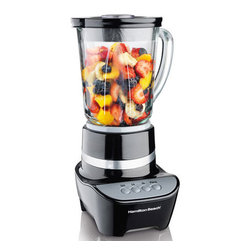 Hamilton Beach - Wave Maker 2 Speed Blender with Touchpad - Durable, dishwasher-safe glass offers smooth performance.Hamilton Beach Glass Jar Blenders use the patented Wave~Action system to make delicious smoothies, milkshakes and other frozen drinks with consistently smooth results - and no ice chunks in your finished product. Whether you 're blending drinks for a party or mixing soups or batters, a Hamilton Beach Blender is a must-have for your contemporary kitchen.Packed with smart features, these durable blenders offer a sturdy glass jar (glass jug) with ample capacity, measuring marks and a comfortable handle for easy pouring. Hamilton Beach Glass Jar Blenders are easy to use and dishwasher safe, with great blender performance you can depend on.Easy-clean touchpad48 oz. glass jarRevolutionary Wave-Action system700 Watts peak power2 speeds plus pulsePerfect for blending, pureeing & choppingDishwasher safe glass jarStainless steel Ice Sabre blades