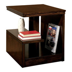 Signature Design by Ashley - Multilevel Cantilever Design End Table - This multi-level table provides storage for your home and works well with both contemporary and traditional d̩cor themes as an end table or accent. Features multiple levels of shelves for items of all sizes and is made from durable hardwood materials. Comes with a dark brown finish. Color/Finish: Dark Brown. Made with select veneer and hardwood solids. Cantilever design. 22 in. W x 26 in. L x 25 in. H